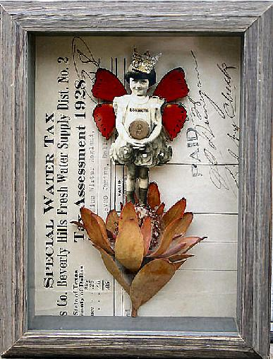 A Stephanie Rubiano antique fairy art collage created with real butterfly wings and protea flower