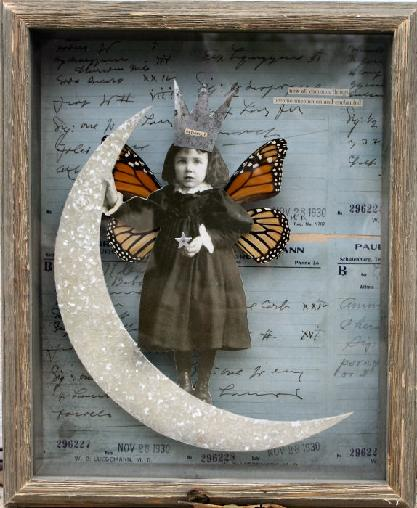 A Stephanie Rubiano art collage with antique photographs and coduments and real butterfly wings