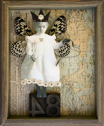 A Stephanie Rubiano collage that uses real butterfly wings, an antique photograph and an old map
