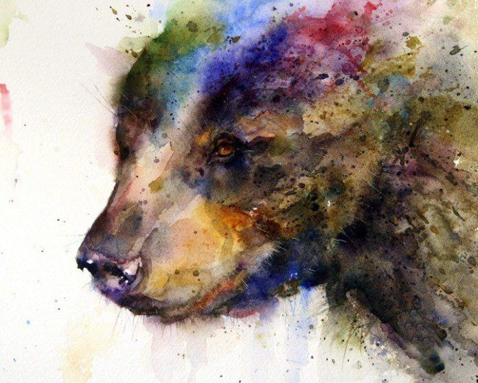 A beautiful watercolor painting of a bear by the master of splashy paint technique, Dean Crouser