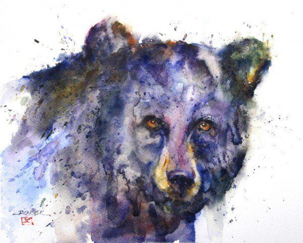 A blue bear watercolor painting by Dean Crouser showing his signature splashy style
