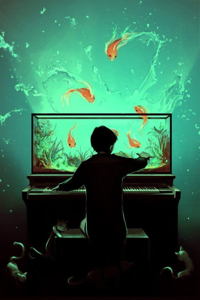 A cute Photoshop illustration by Cyril Rolando of a boy playing a piano aquarium. Fish jump out to the waiting cats below