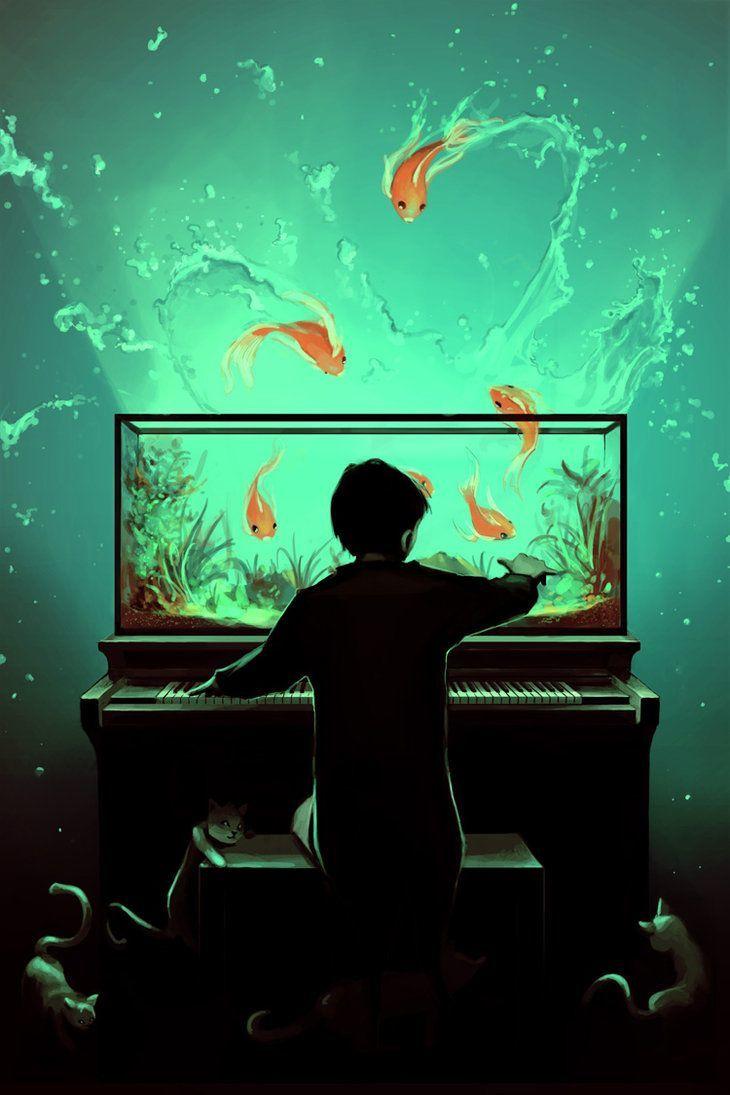 A Cute Photoshop Illustration By Cyril Rolando Of A Boy Playing A