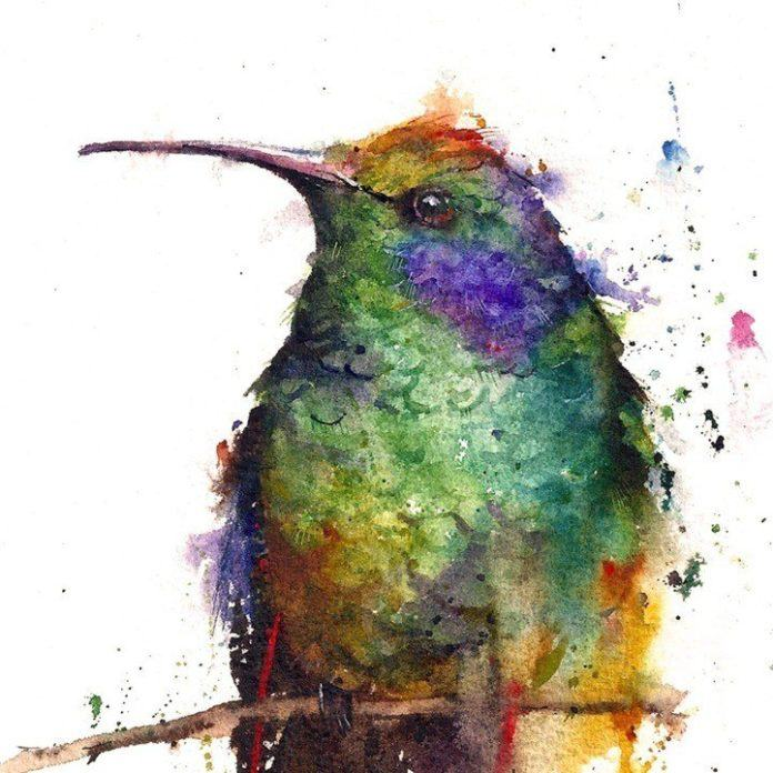 A cute and colorful portrait of a hummingbird painted in watercolor by Dean Crouser