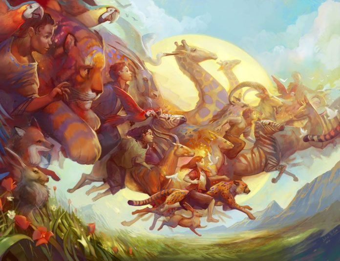 A digital fantasy painting by Julie Dillon that shows dozens of children and animals flying