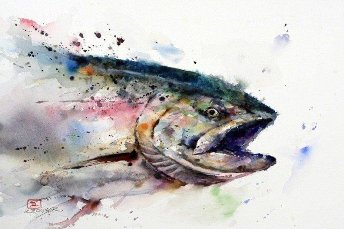 A dramatic watercolor painting of a wild fish by Dean Crouser whose splashy paint style suits aquatic animal paintings