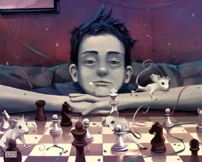 A fantasy Photoshop painting in which a boy plays chess with mice while confetti and streamers fall