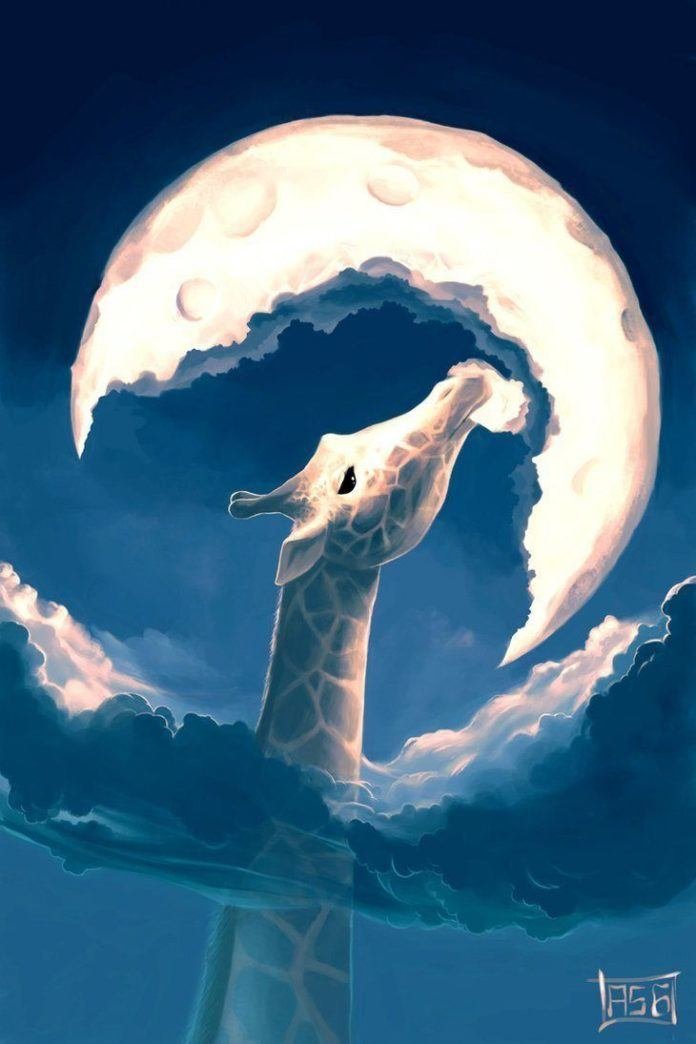 A gorgeous Photoshop illustration of a giraffe that is so tall it can eat the moon