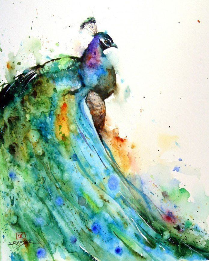 A gorgeous splashy watercolor painting of a blue peacock bird by artist Dean Crouser