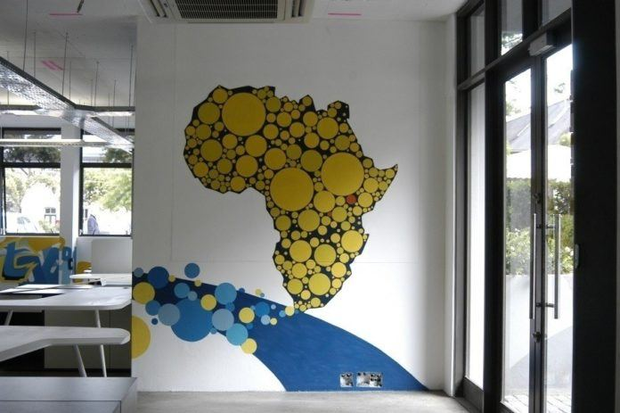 A graffiti mural commissioned for the MXit offices in Cape Town painted by Riyaan Shinjuku Wiener