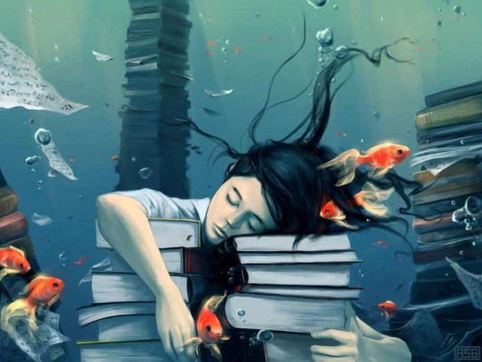 A poignant Photoshop painting of a girl drowning in books and swimming with the fishes while sleeping instead of studying