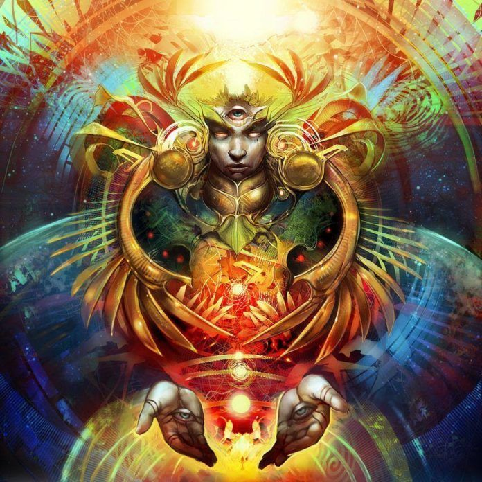 A psychedelic trance painting in Photoshop illustrated by artist Julie Dillon