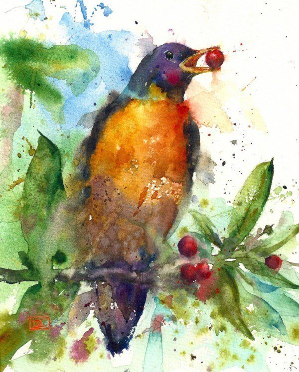 A yellow breasted bird picks berries in this splashy and colorful watercolor painting by Dean Crouser