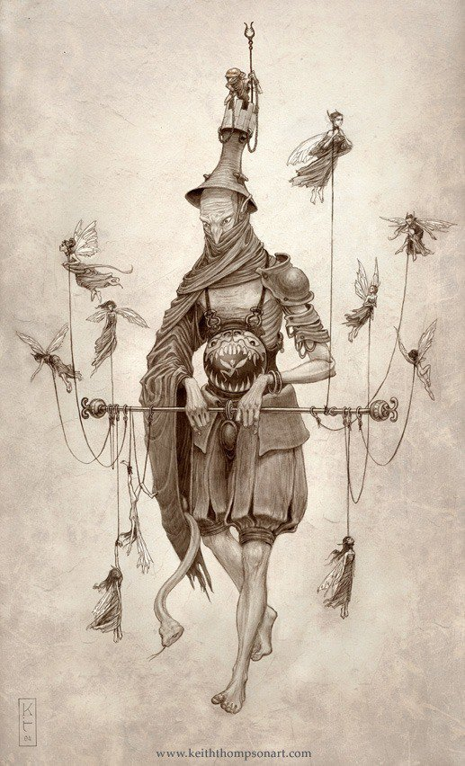 Amazing Art Nouveau fantasy illustration by Keith Thompson of a fairy puppet master
