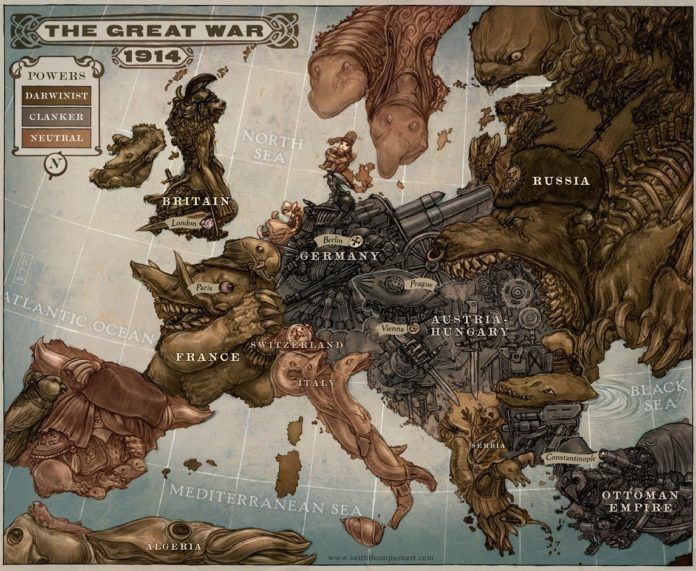 Amazing Art Nouveau fantasy illustration by Keith Thompson of a map of Europe made using caricature faces