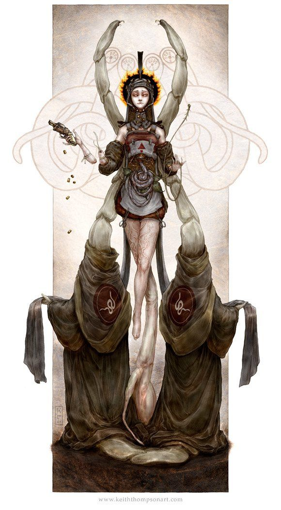 Amazing Art Nouveau fantasy illustration by Keith Thompson of an alien queen, the saint of parasites