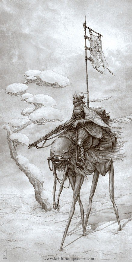Amazing Art Nouveau fantasy illustration by Keith Thompson of an alien warrior riding a giant flea
