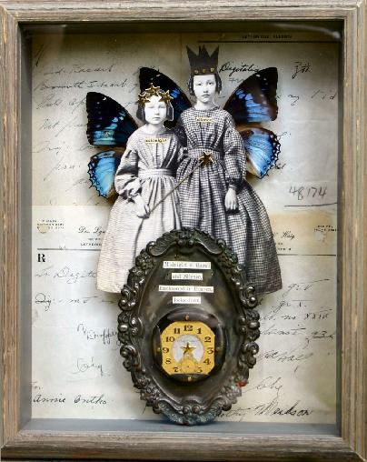 An art collage by Stephanie Rubiano using antique elements and symbolic media to create vintage fairies