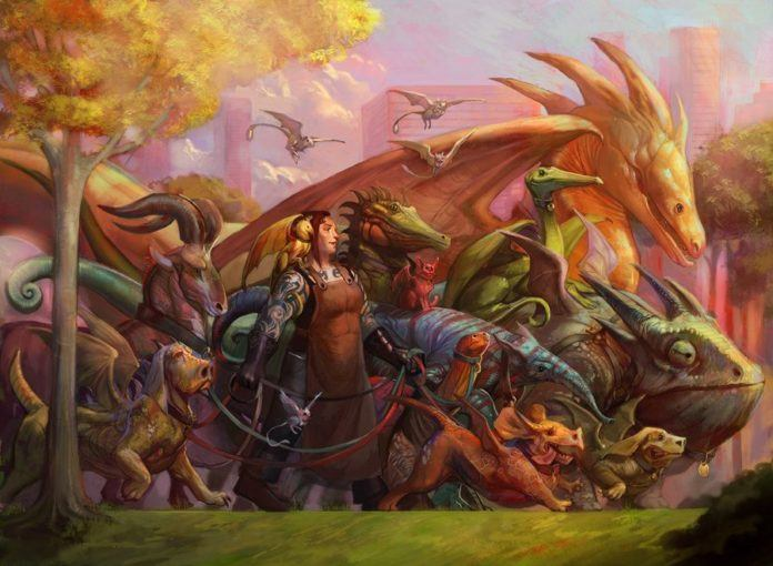 An urban fantasy painting by Photohsop artist Julie Dillon that shows dragons and dinosaurs in the city