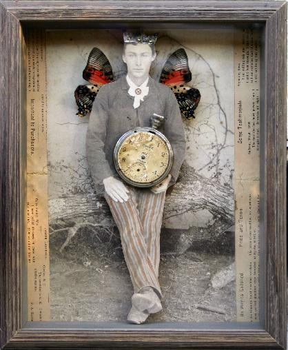 Antique photographs, butterfly wings and an old pocket watch merge to create a mixed media art collage by Stephanie Rubiano