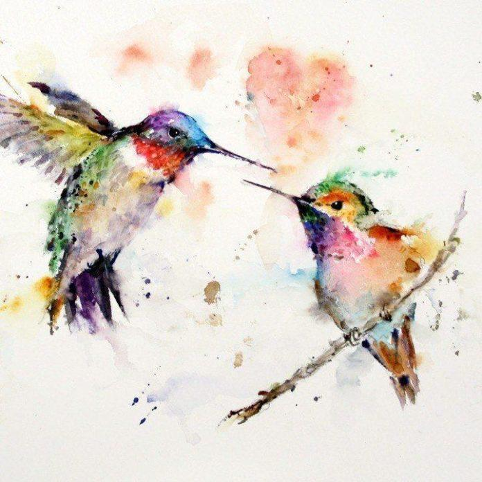 Artistic and colorful watercolor painting by Dean Crouser of two hummingbirds in an abstract, splashy style