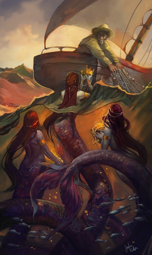 Digital mythology painting by Julie Dillon of mermaids presenting a fisherman with treasure