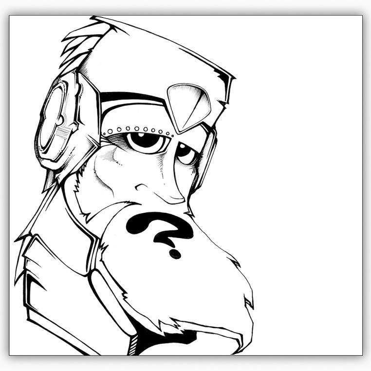 Digital Painting Line Art : Graffiti style digital line art portrait by cape town