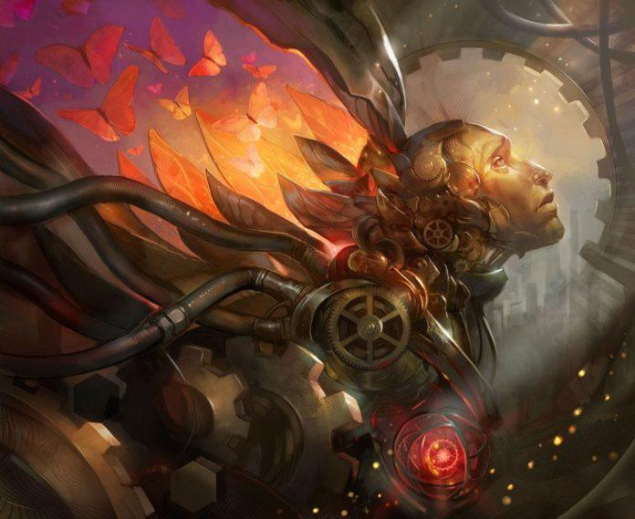 Julie Dillon's Photoshop fantasy painting of a robot exploding into butterflies