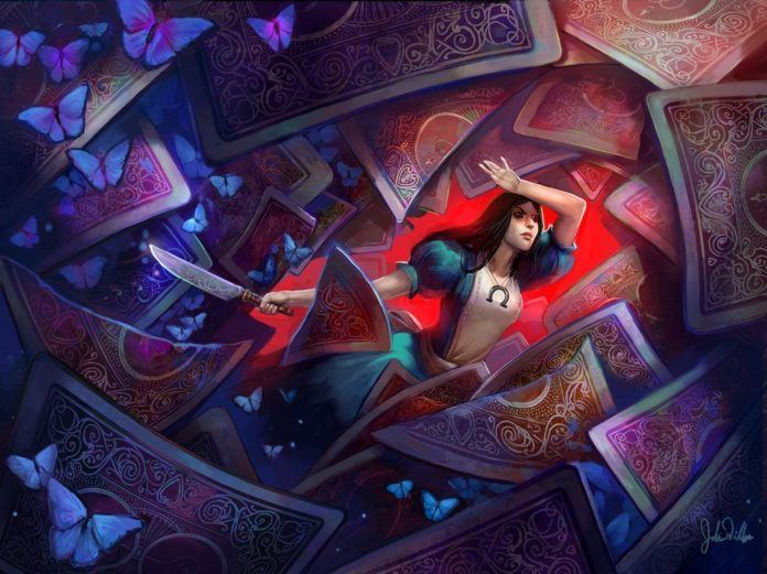 Illustrator Julie Dillon's digital fantasy painting of Alice in Wonderland with playing cards