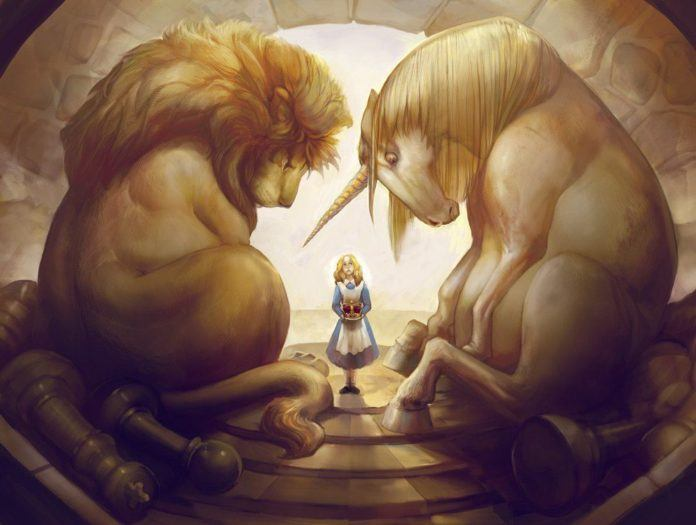 Julie Dillon's digital fantasy painting with Alice, chess pieces, a unicorn and a lion