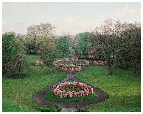 One of Spencer Tunick's mass nude photographs that uses thousands of volunteers to create naked circles in Salford