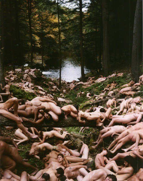 One of Spencer Tunick's mass nude photographs that uses volunteers to create a naked Garden of Earthly Delights