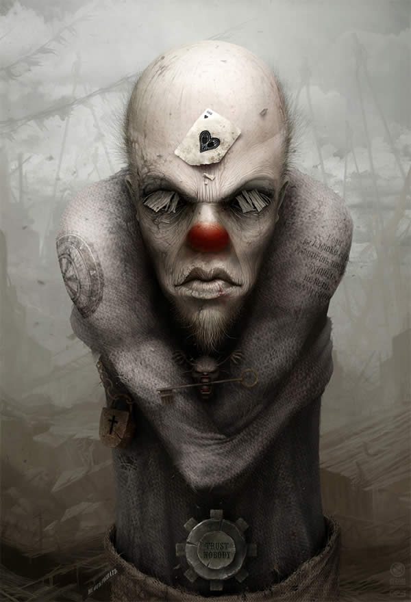 Photoshop horror painting by the digital master of the macabre Anton Semenov, a mummified zombie clown