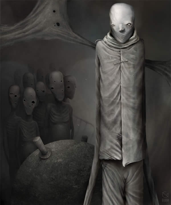 Photoshop horror painting by the digital master of the macabre Anton Semenov, alien zombies silently watching you