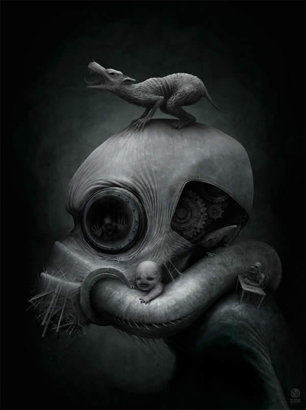 Photoshop horror painting by the digital master of the macabre Anton Semenov, gask mask and howling wolf