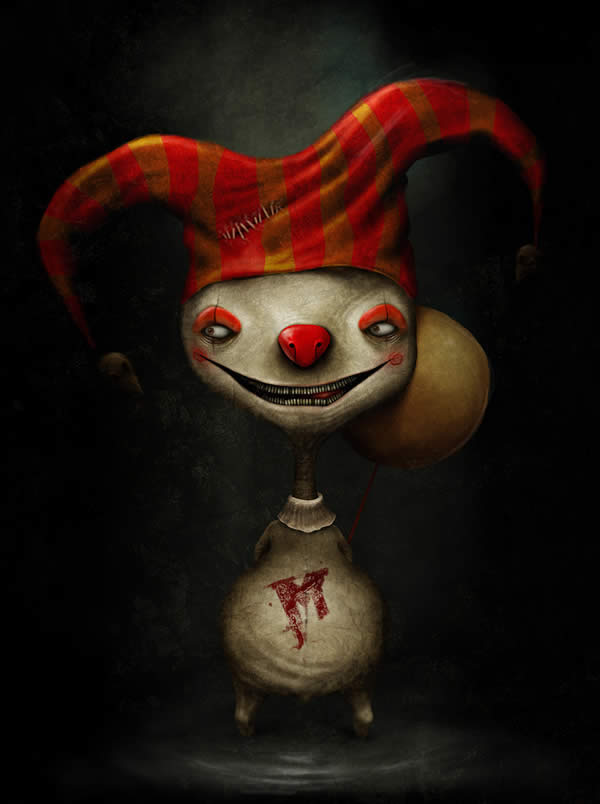 Photoshop horror painting by the digital master of the macabre Anton Semenov, hell's jester clown