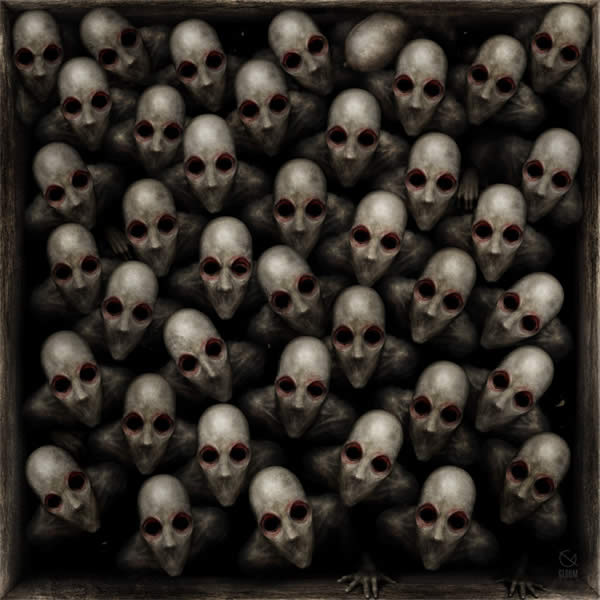 Photoshop horror painting by the digital master of the macabre Anton Semenov, illustration of the holocaust death chambers