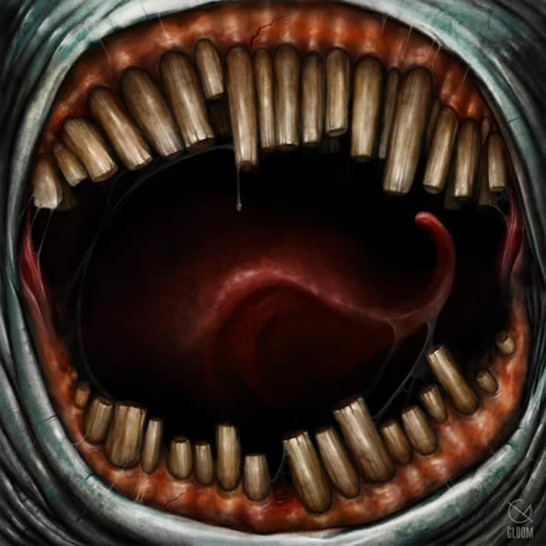 Photoshop horror painting by the digital master of the macabre Anton Semenov, mouth full of teeth ready to eat you