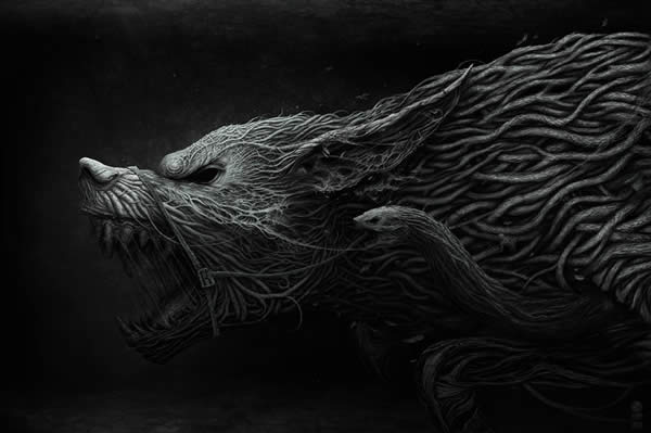 Photoshop horror painting by the digital master of the macabre Anton Semenov, wolf and snake made of organic roots