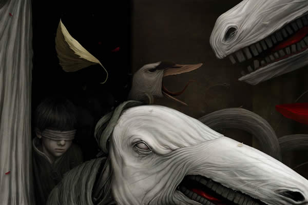 Photoshop horror painting by the digital master of the macabre Anton Semenov. Goose, horse and blindfolded boy