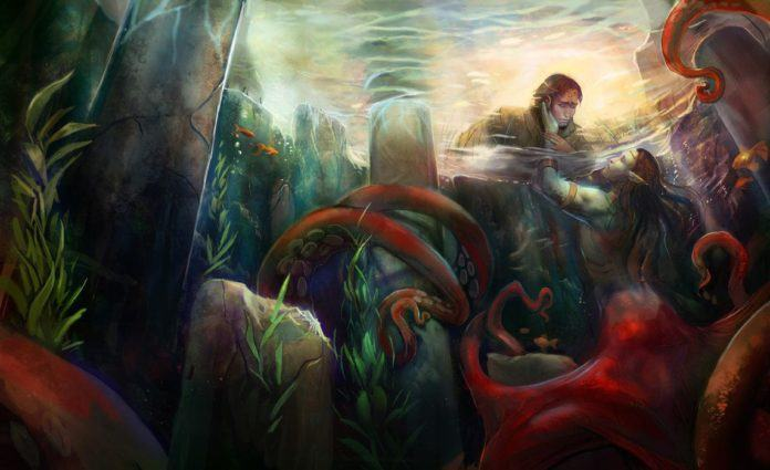 Photoshop illustration painting by Julie Dillon of the Lady in the Lake and her lover