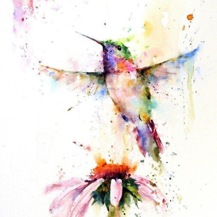 Simply stunning watercolor painting of a flying hummingbird and flower by splashy artist Dean Crouser