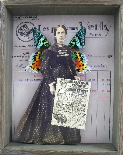 Stephanie Rubiano collage using antique photographs, real butterfly wings, old print media and receipts