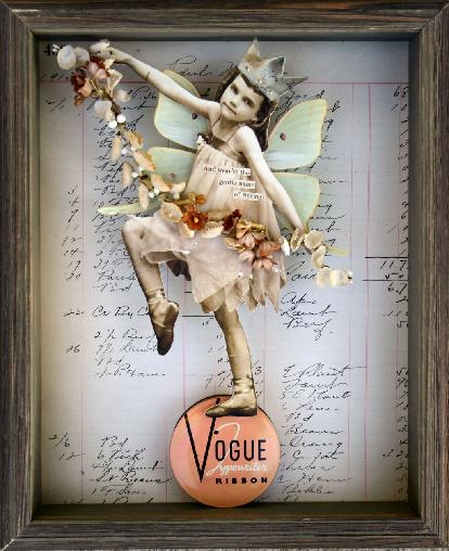 Stephanie Rubiano creates a spring fairy art collage with an antique photo of a bellerina