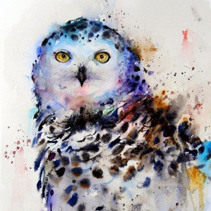 This watercolor painting of an owl perfectly exhibits the art style of animal artist Dean Crouser