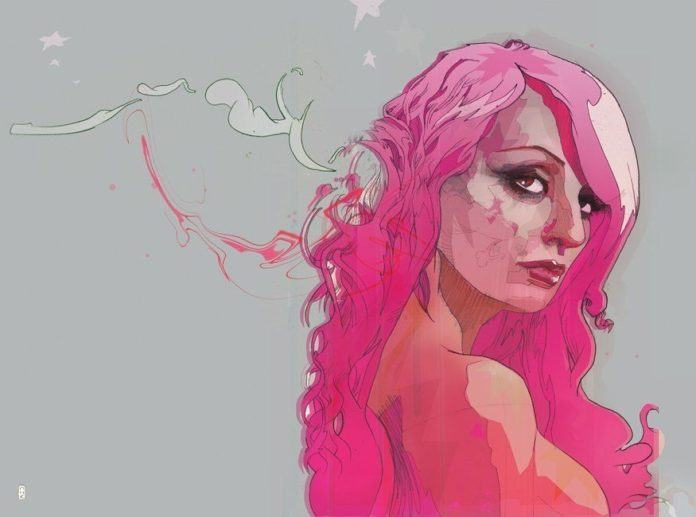christian ward pink hair girl woman looking over shoulder beautiful feminine design painting