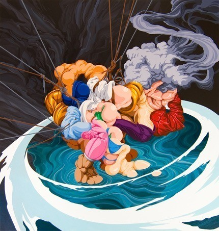 james roper abstract fine art painting feminine female woman sado masochism ropes flesh body