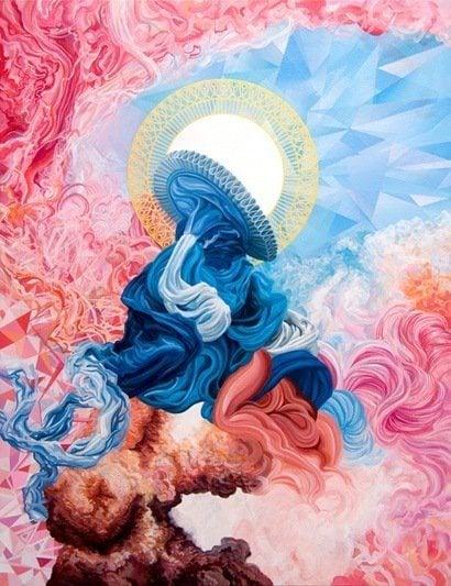 james roper feminine fine art painting pink blue colro shape movement abstract design