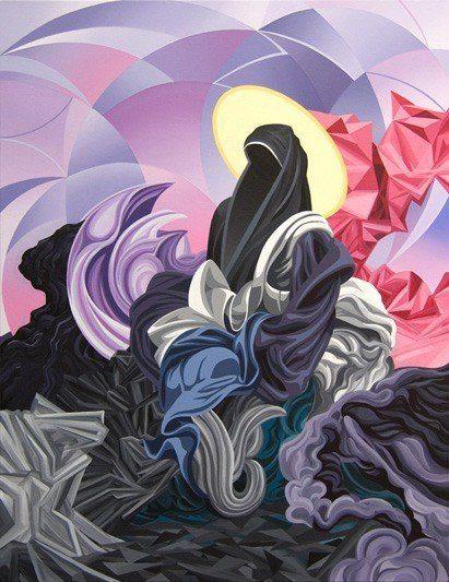 james roper fine art painting acrylic modern abstract sister nun woman god religion shape color movement