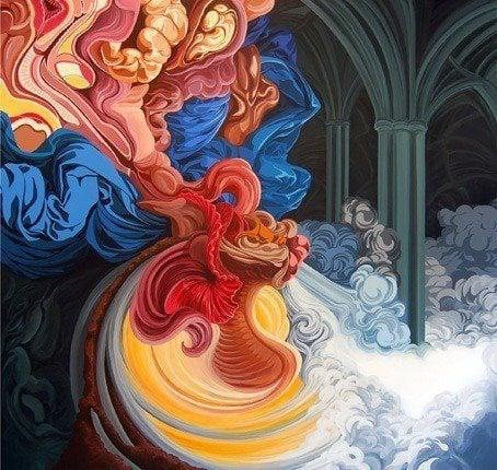 james roper fine art painting organic shape movement alien life form cathedral religion inner sanctum